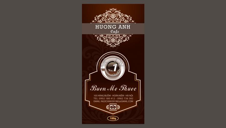 Thiết kế nhãn mác sản phẩm cafe Hương Anh Buôn Mê Thuộc